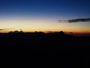 Silhouette of volcanoes erupting at Sunrise, Gautemala