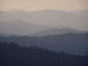 Sunset over the mountain of the Sierra Norte, Oaxaca