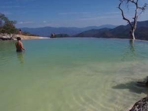 Swimming Hierve el Agua, Oaxaca, Mexico