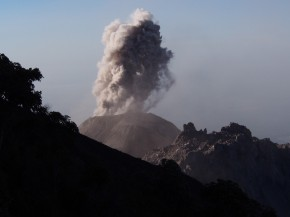 Erupting Volcano Santiaguito, Xela, Guatamala
