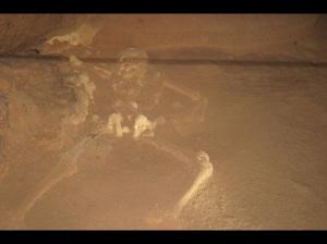 ATM Caves, crystallised skeleton