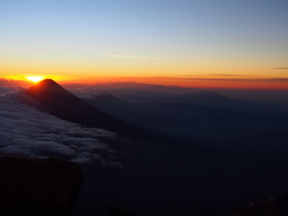 Sunrise behind Volcán de Agua, near Antigua, Guatemala