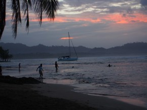 Sunset on the ocean at Puerto Viejo, Costa Rica