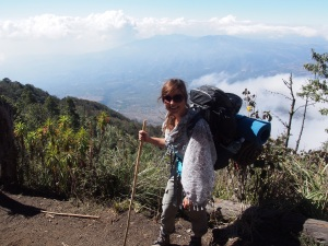 Hiking Acatenango with my boots, and my sarong providing sun protection