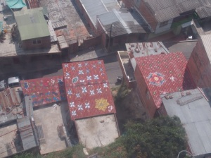 Painted roofs in a suburban barrio