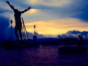 Jesus at sunset in Manizales, Colombia