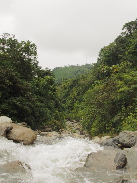 Driving through a waterfall on Colombia's most dangerous road