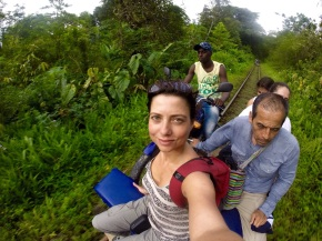 Riding the moto rail trolley to San Cipriano
