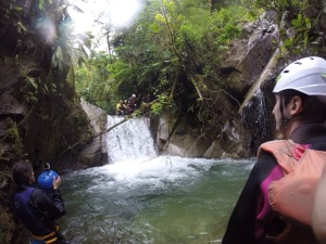 Taking the plunge, canyoning in Banos.