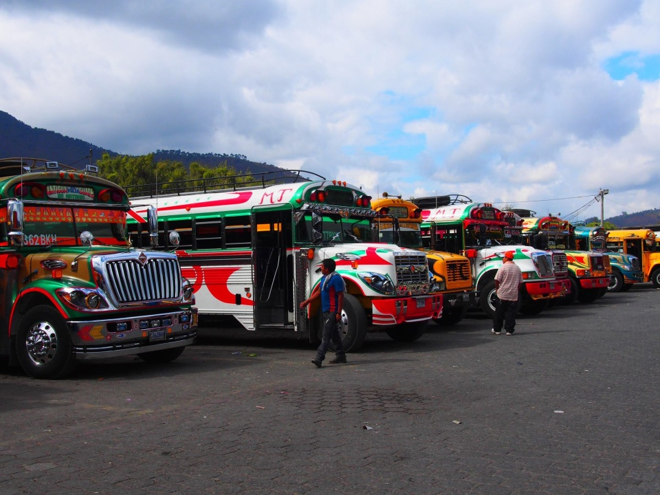 Beautifully painted buses in Guatemala