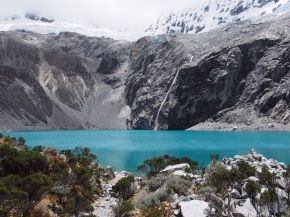 The turquoise lake of Laguna 69 in Huascarán National Park