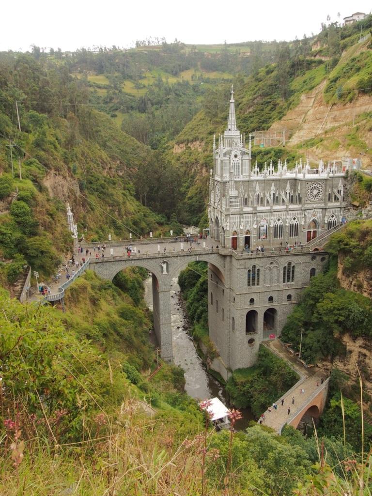 El Santuario de las Lajas, constructed across a canyon